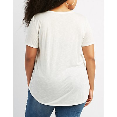 Plus Size Destroyed Cut-Out Tee