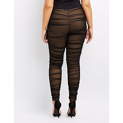 Plus Size Mesh Ruched Leggings