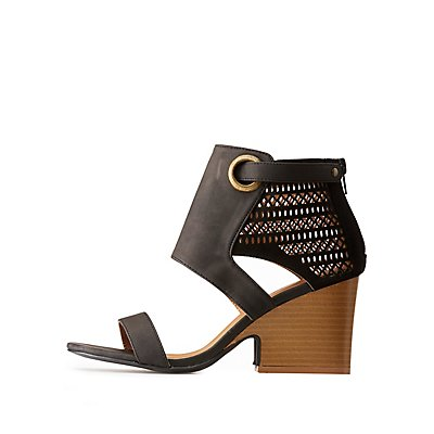 Qupid Laser-Cut Boot Sandals