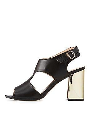 Metallic Heel Slingback Sandals