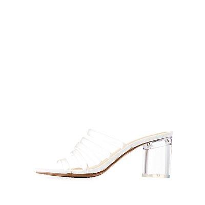 Strappy Lucite Heel Slide Sandals