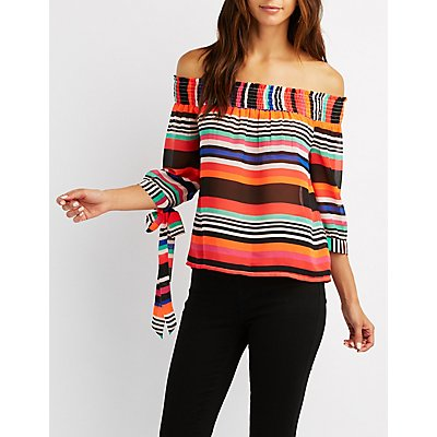 Striped Off-The-Shoulder Tie Sleeve Top