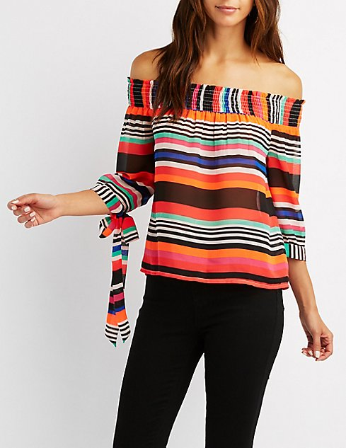 3a2cfe533d257d Striped Off-The-Shoulder Tie Sleeve Top | Charlotte Russe