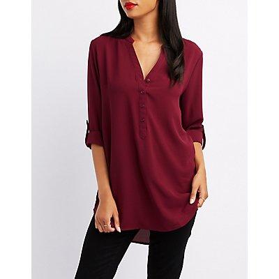 Mandarin Collar Button-Up Shirt