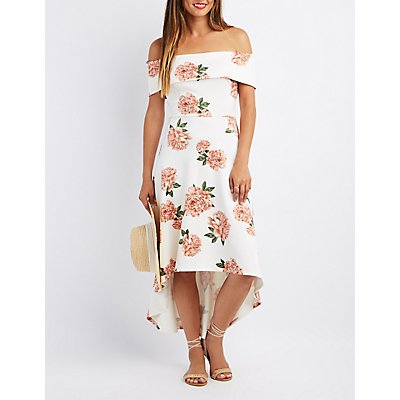 Floral Off-The-Shoulder High-Low Dress