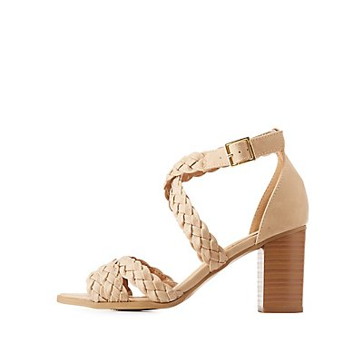 Braided Strappy Block Heel Sandals