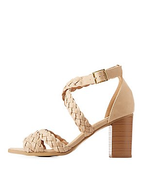 Braided Strappy Block Heel Sandals