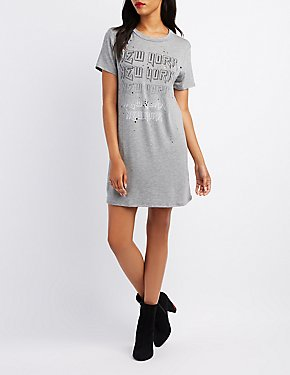 Distressed New York T-Shirt Dress