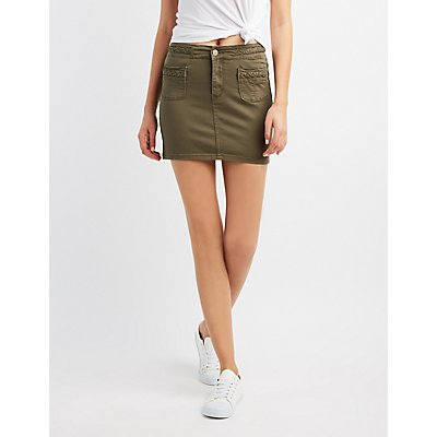 Braided-Trim Mini Skirt
