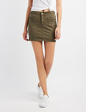 Braided-Trim Mini Skirt