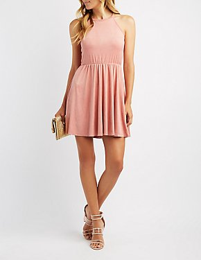 Faux Suede Lace-Up Skater Dress