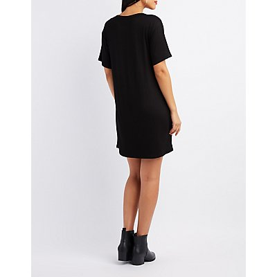 Mesh-Inset Graphic T-Shirt Dress