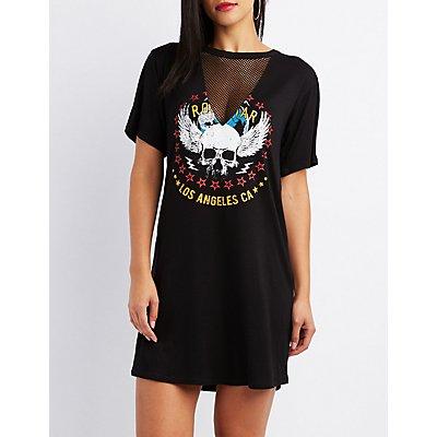 Mesh-Inset Graphic T-Shirt Dress