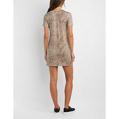 Grommet T-Strap T-Shirt Dress