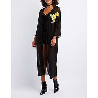 Floral Embroidered Mesh Duster
