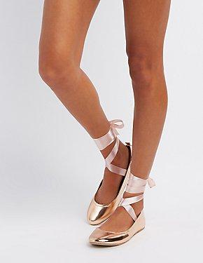 Satin Lace-Up Ballet Flats