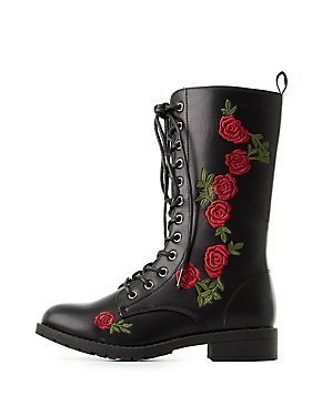 Lace-Up Embroidered Combat Boots
