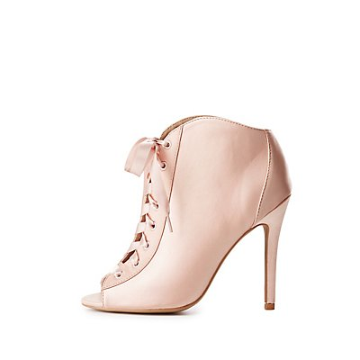 Qupid Lace-Up Peep Toe Ankle Booties