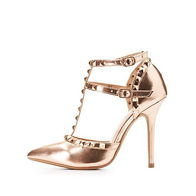 Studded T-Strap D'Orsay Pumps