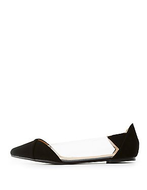 Clear & Faux Nubuck Pointed Toe Flats