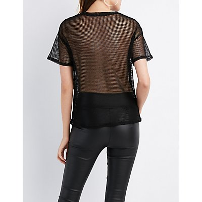 Lace-Up Fishnet Tee