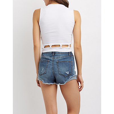 Beach Please Caged Cropped Tank Top