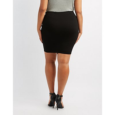 Plus Size Mini Asymmetrical Wrap Skirt