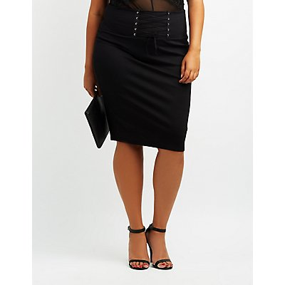 Plus Size Corset-Detail Bodycon Skirt