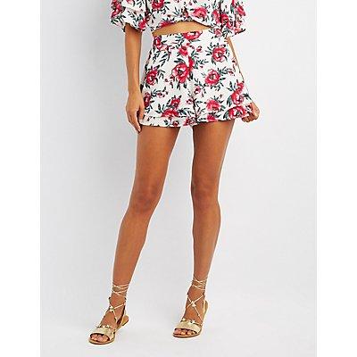 Floral Tiered Hem Shorts