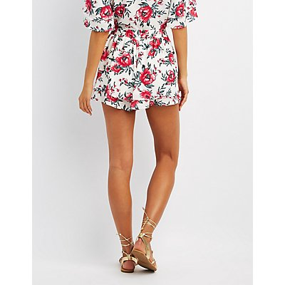 Floral Tiered Hem Shorts