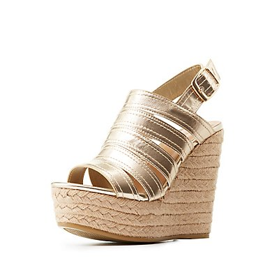 Bamboo Espadrille Wedge Sandals