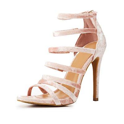 Velvet Strappy Dress Sandals