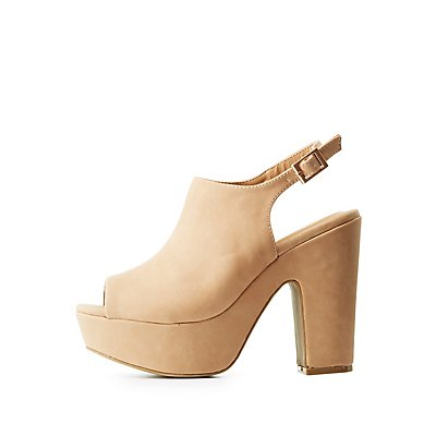 Bamboo Peep Toe Slingback Platform Sandals