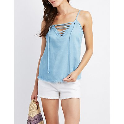Chambray Lace-Up Tank Top