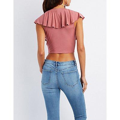 Ruffle-Trim Lace-Up Crop Top