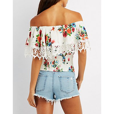 Floral Crochet-Trim Off-The-Shoulder Top