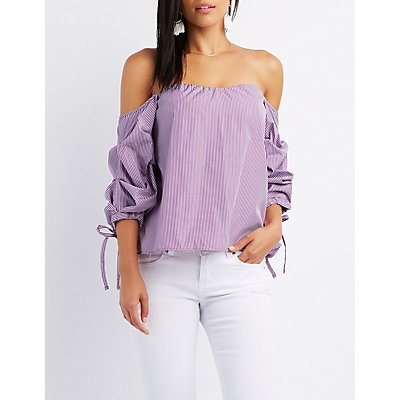 Striped Off-The-Shoulder Ruched Sleeve Top