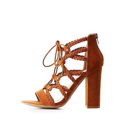 Bamboo Braided Caged Lace-Up Sandals