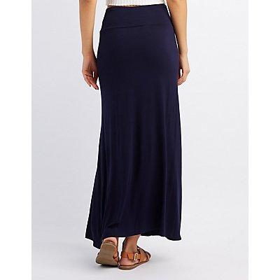 Foldover Waist Maxi Skirt