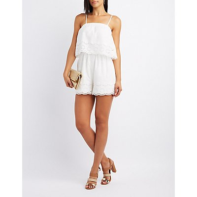 Tiered Eyelet Romper