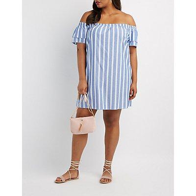 Plus Size Striped Off-The-Shoulder Dress