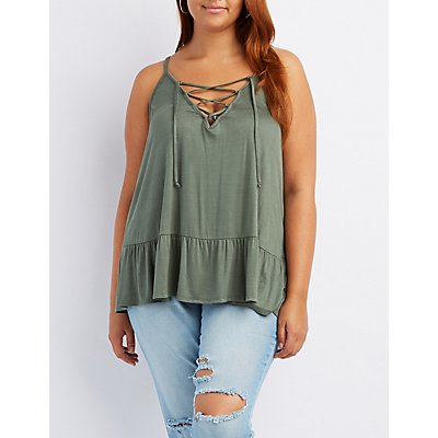 Plus Size Caged Ruffle-Trim Tank Top