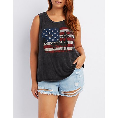 Plus Size American Flag Graphic Muscle Tee