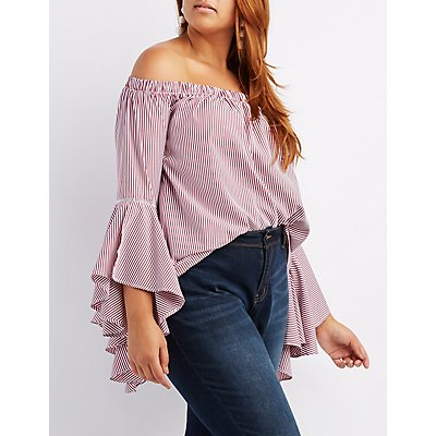 Plus Size Striped Off-The-Shoulder Cascading Top