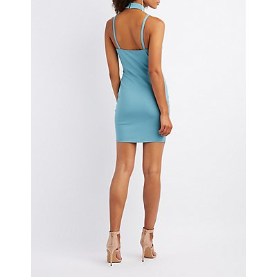 Strappy Choker Neck Bodycon Dress