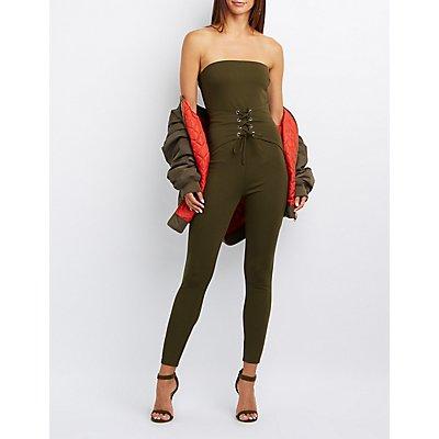 Corset-Detail Strapless Jumpsuit