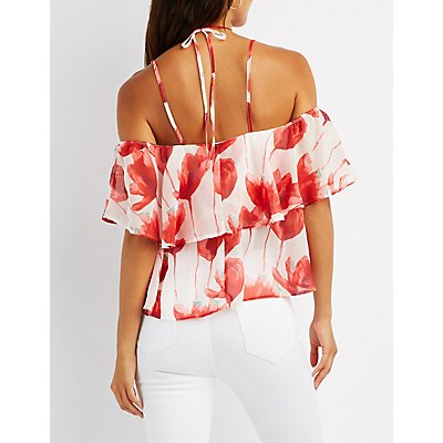 Floral Halter Neck Cold Shoulder Top