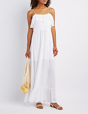 Ruffle-Trim Lace-Up Maxi Dress
