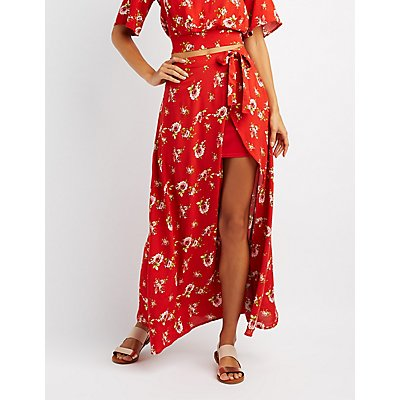 Floral Wrap-Tie Maxi Skirt