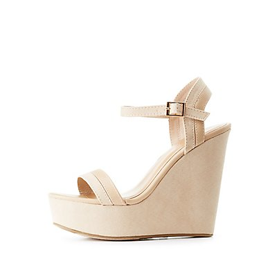 Bamboo Two-Piece Wedge Sandals
